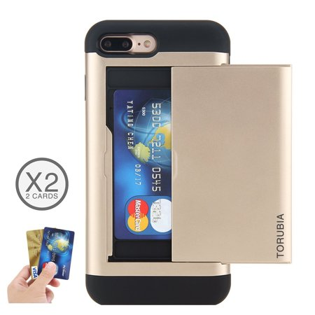 For iPhone 7 / iPhone 8 Shockproof Full-Body Hybrid Combo Snap-On Case Cover Protector with Card Holder (Golden)
