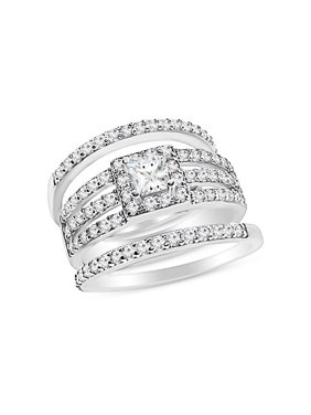 DTLA Sterling Silver Triple Band Bridal Ring Set CZ Princes Cut Engagement Ring - 10