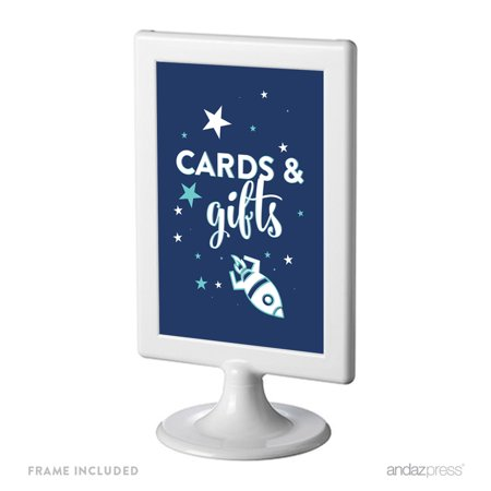 Space Galaxy Birthday Framed Party Signs, Cards & Gifts, 4x6-inch, Includes Frame