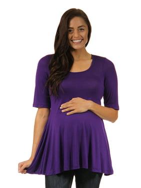 Women's Maternity Elbow Length Short Sleeve Flared Tunic Top