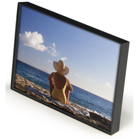 Set of 12, Clear Box Frames for 4 x 6 Photos, Snap-in Rear Easel, Wall-Mounted Picture Holders - Black Plastic with Clear Glass Lens (IPF46BK)