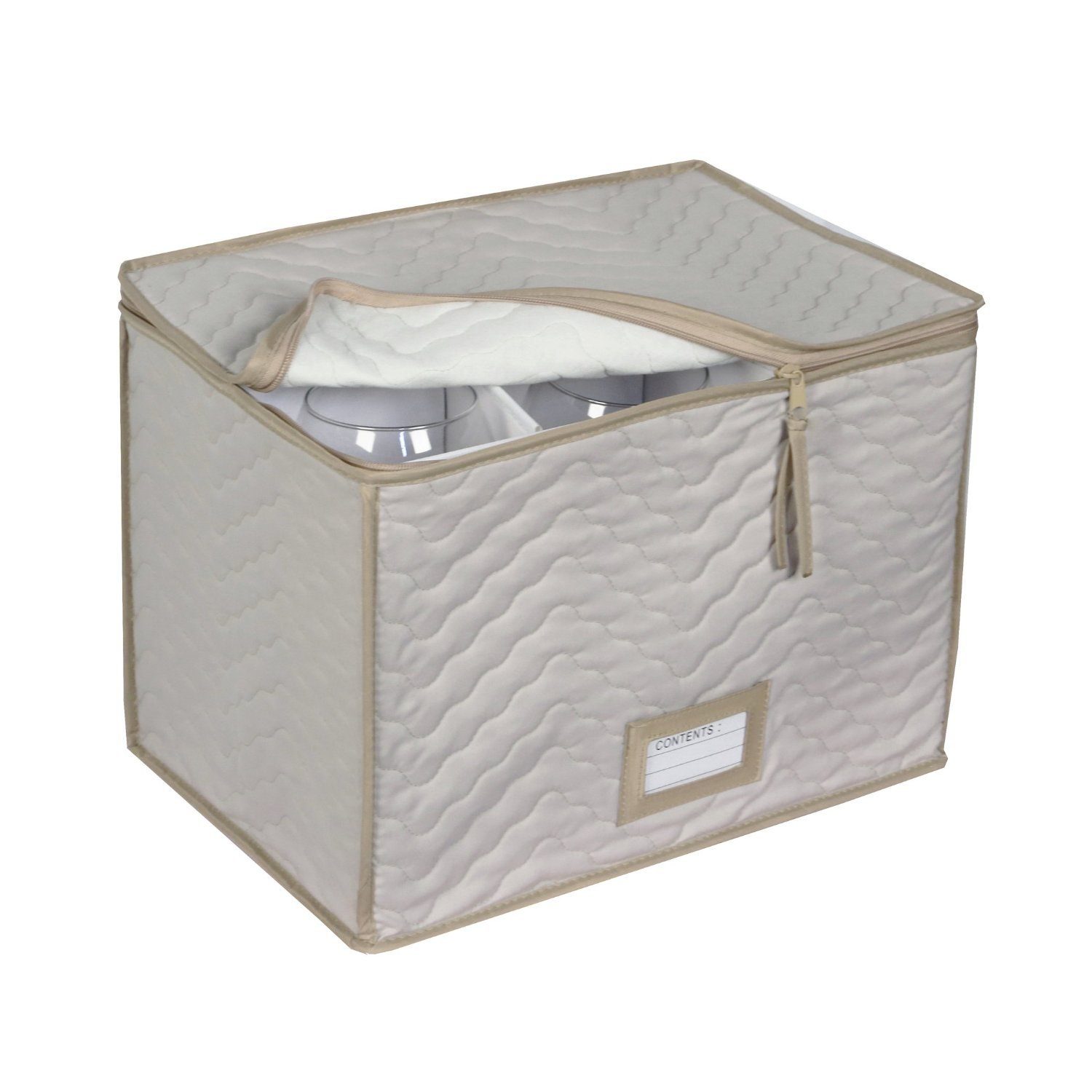 Water resistant Soft Quilted Microfiber Storage Chest, Holds 6 Wine Goblets, Color Mocha by