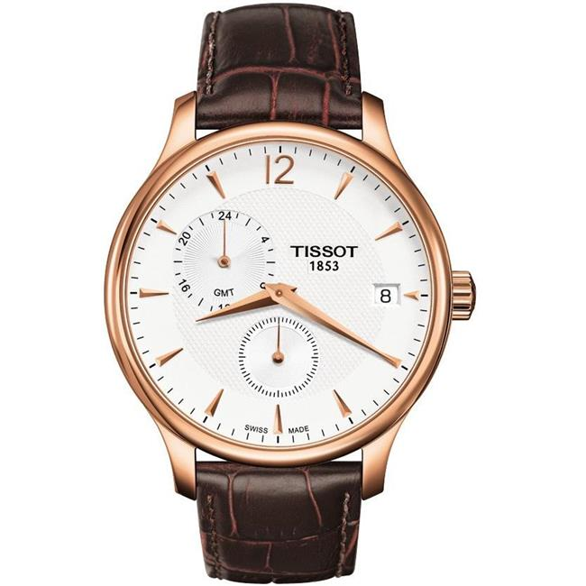 8b432d09a77 Tissot Tradition Rose Gold-Tone GMT Mens Watch T0636393603700