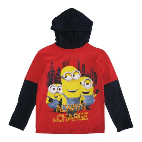 Minions Little Boys Red Black Character Print Hooded Long Sleeve Shirt 4-7