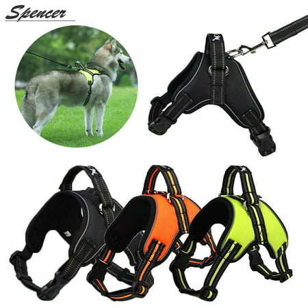 """Spencer No Pull Dog Harness Outdoor Adjustable Pet Vest Reflective Oxford Harness Chest Strap for Dogs with Control Handle for Medium Large Dogs Walking Training """"Black,M"""""""