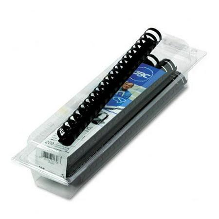 "CombBind Plastic Binding Combs, 1"" Diameter, Black, 10 Combs/Box 4090064, Nineteen-Ring bindings made of rigid PVC plastic. By GBC"