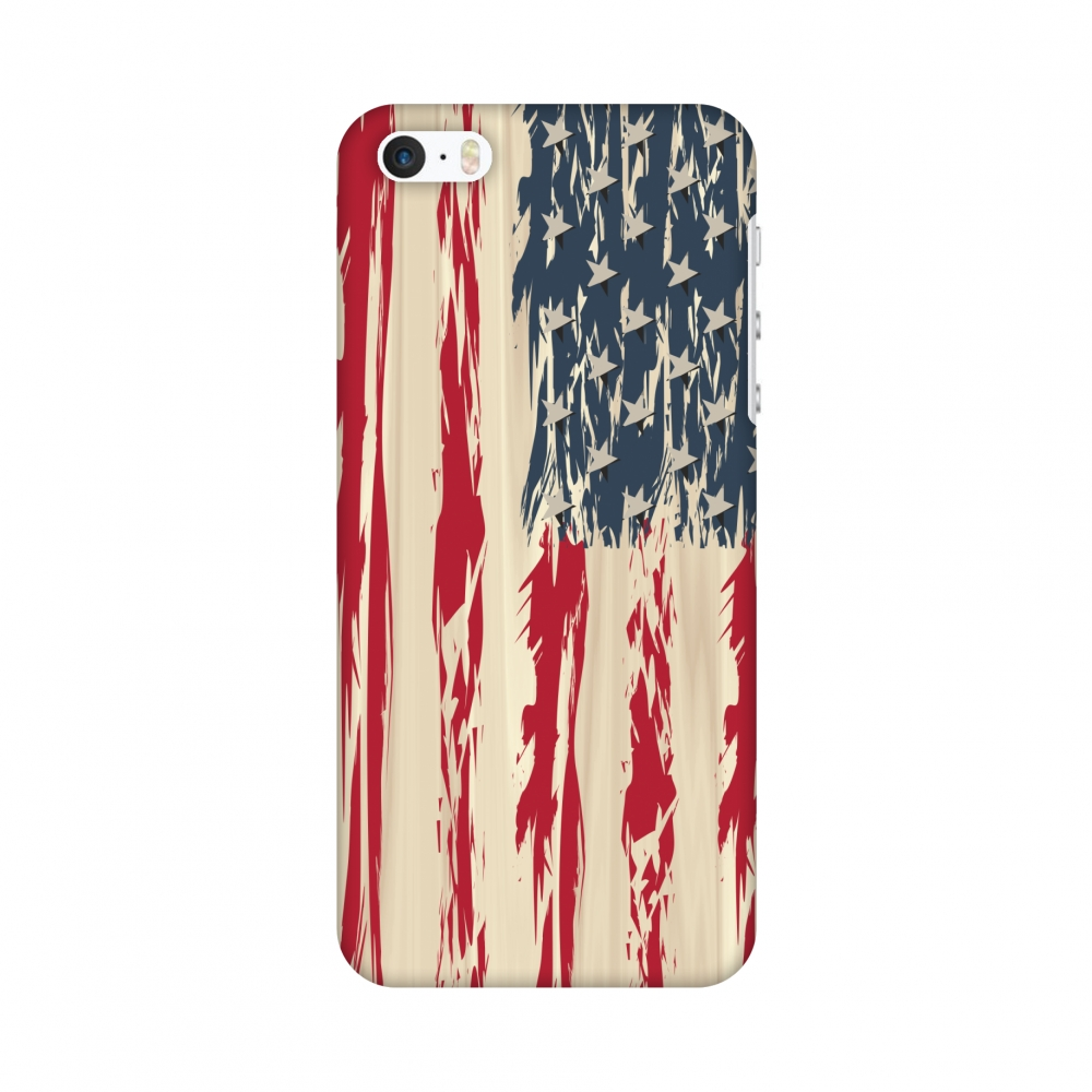 iPhone SE Case - USA flag- Paint splashes, Hard Plastic Back Cover, Slim Profile Cute Printed Designer Snap on Case with Screen Cleaning Kit