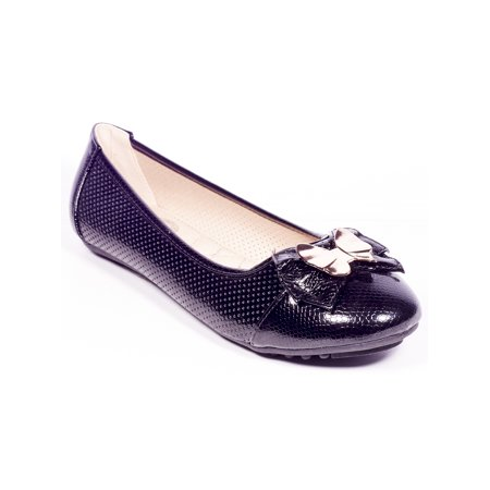 Women's Ballerina Ballet Flats Casual Faux Leather Shoes w/ Bow Buckle - Colonial Shoe Buckles