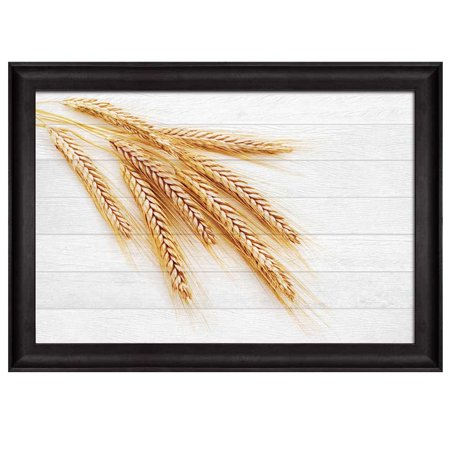 wall26 - Branches of Wheat Over White Wooden Panels Background - Nature - Framed Art Prints, Home Decor - 16x24 inches (Wheat Plant Framed)