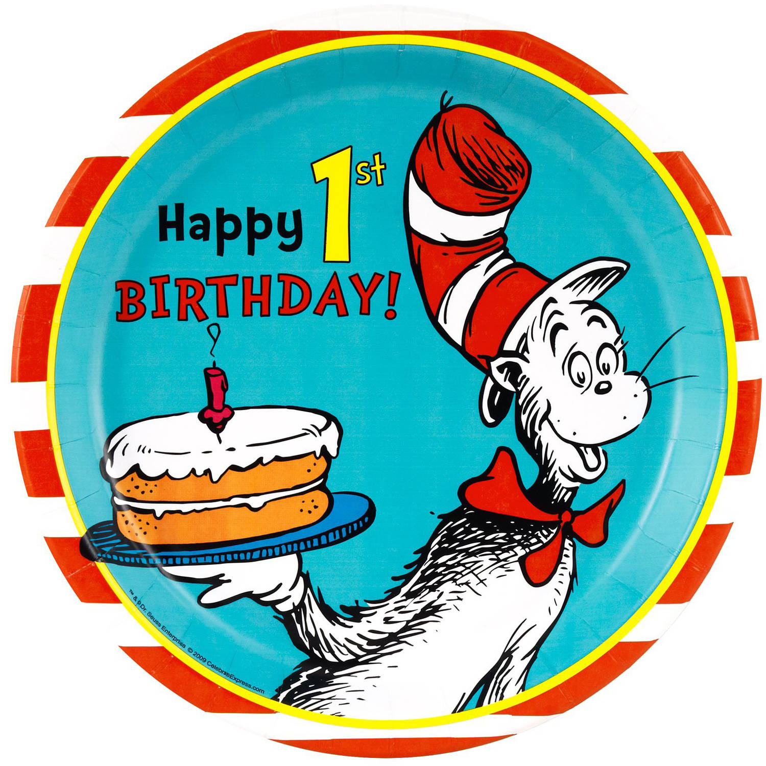 Dr. Seuss 1st Birthday Dinner Plates, 8-Pack