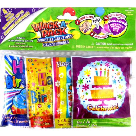 Wack-A-Pack Happy Birthday Self-Inflating Foil Balloons, 1 Package of 4, party By Peachtree Playthings,USA