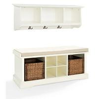 Crosley Furniture Brennan 2-Piece Entryway Bench and Shelf Set
