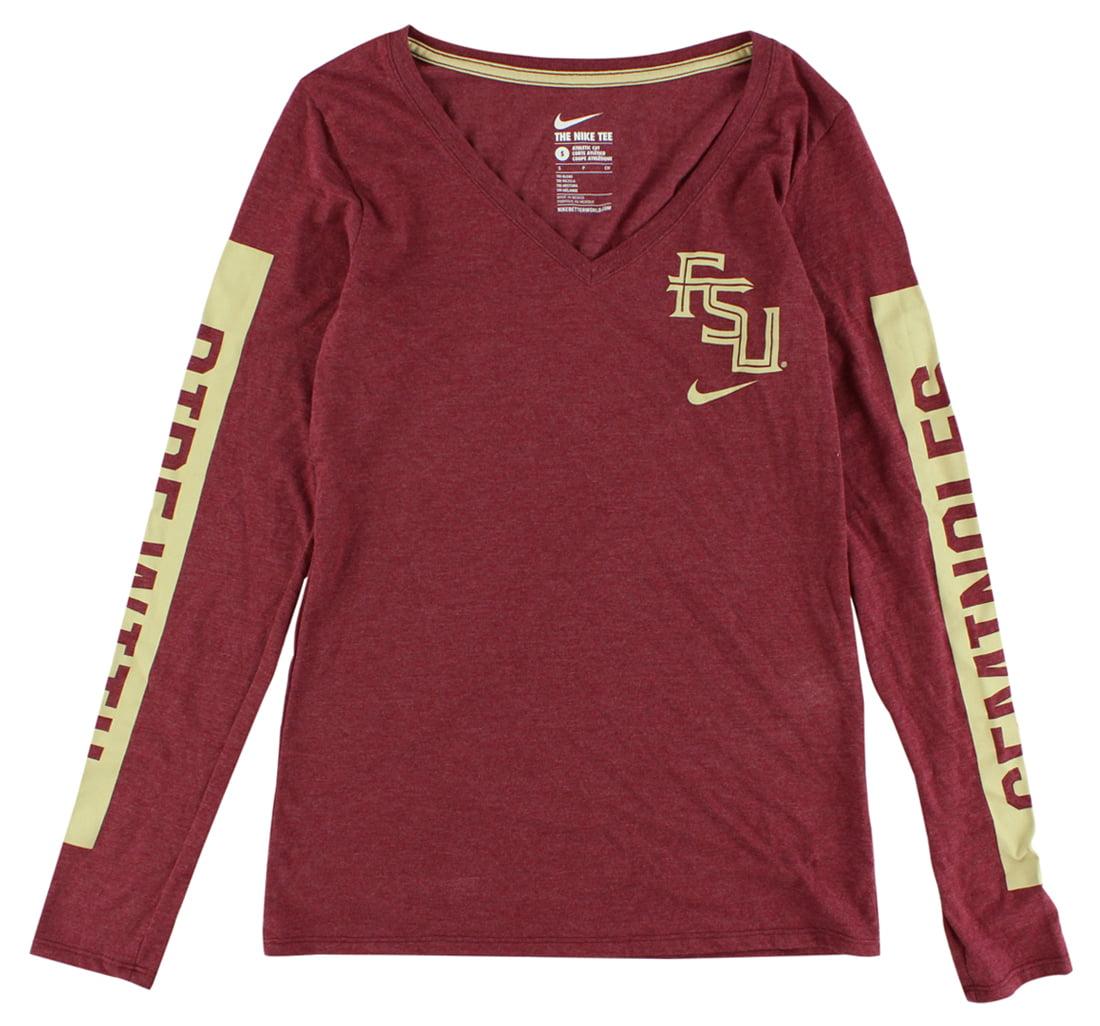 Nike Womens Florida State Seminoles Long Sleeve Tri Blend Modern T Shirt Maroon by