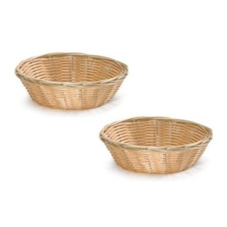 Update International NEW, 8-Inch Round Woven Bread Roll Baskets, Food Serving Baskets, Basket, Restaurant Quality, Polypropylene Material - Set of 2