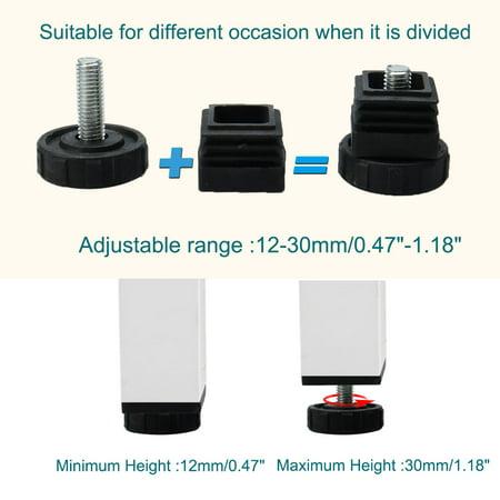 Leveling Feet 38 x 38mm Square Tube Insert Furniture Adjustable Leveler 8 Sets - image 5 de 8