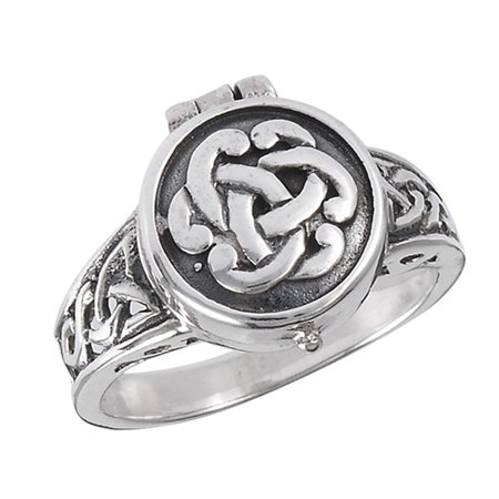 Locket Oxidized Celtic Knot Ring .925 Sterling Silver Filigree Band Size 10 925 Silver Celtic Ring