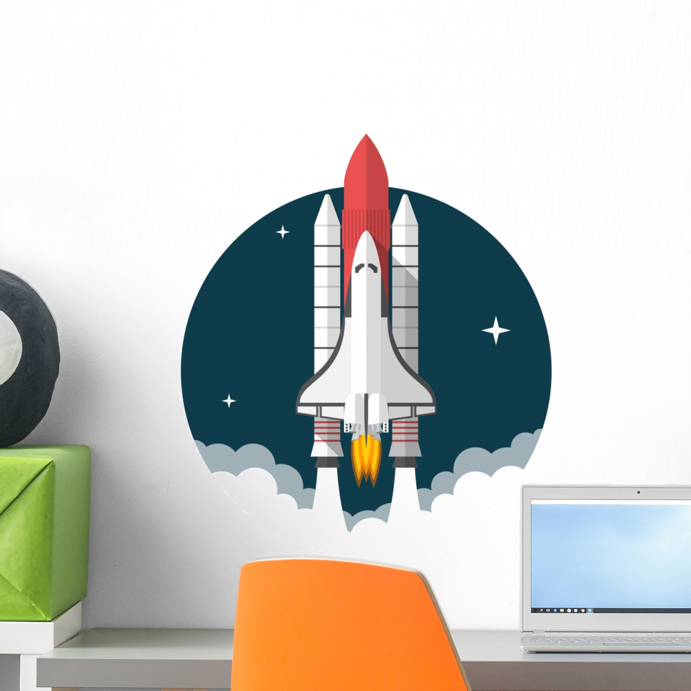 Space Shuttle Wall Mural Decal Sticker Wallmonkeys Peel Stick