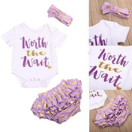 US 3pcs Newborn Baby Girls Tops Romper+Dots Bottoms Headband Outfits Clothes Set ()