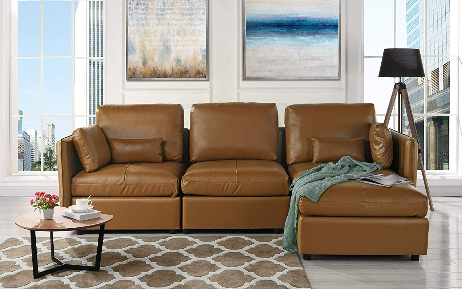 L-Shape Living Room Leather Match Sectional Sofa, Right Facing ...