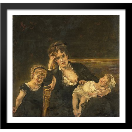 The widow 30x28 Large Black Wood Framed Print Art by Alfred
