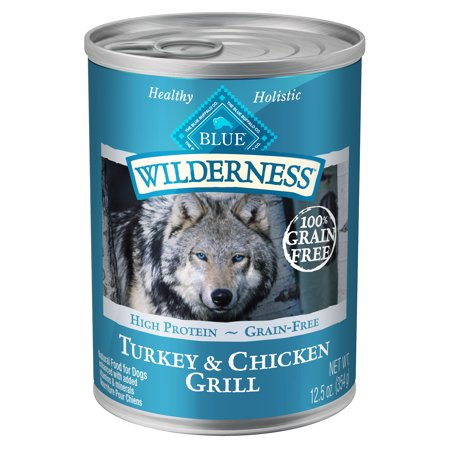 Blue Buffalo Wilderness High Protein Grain Free, Natural Adult Wet Dog Food, Turkey & Chicken Grill, 12.5-oz cans, Case of