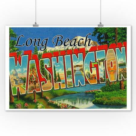 Long Beach, Washington - Large Letter Scenes (9x12 Art Print, Wall Decor Travel Poster) ()