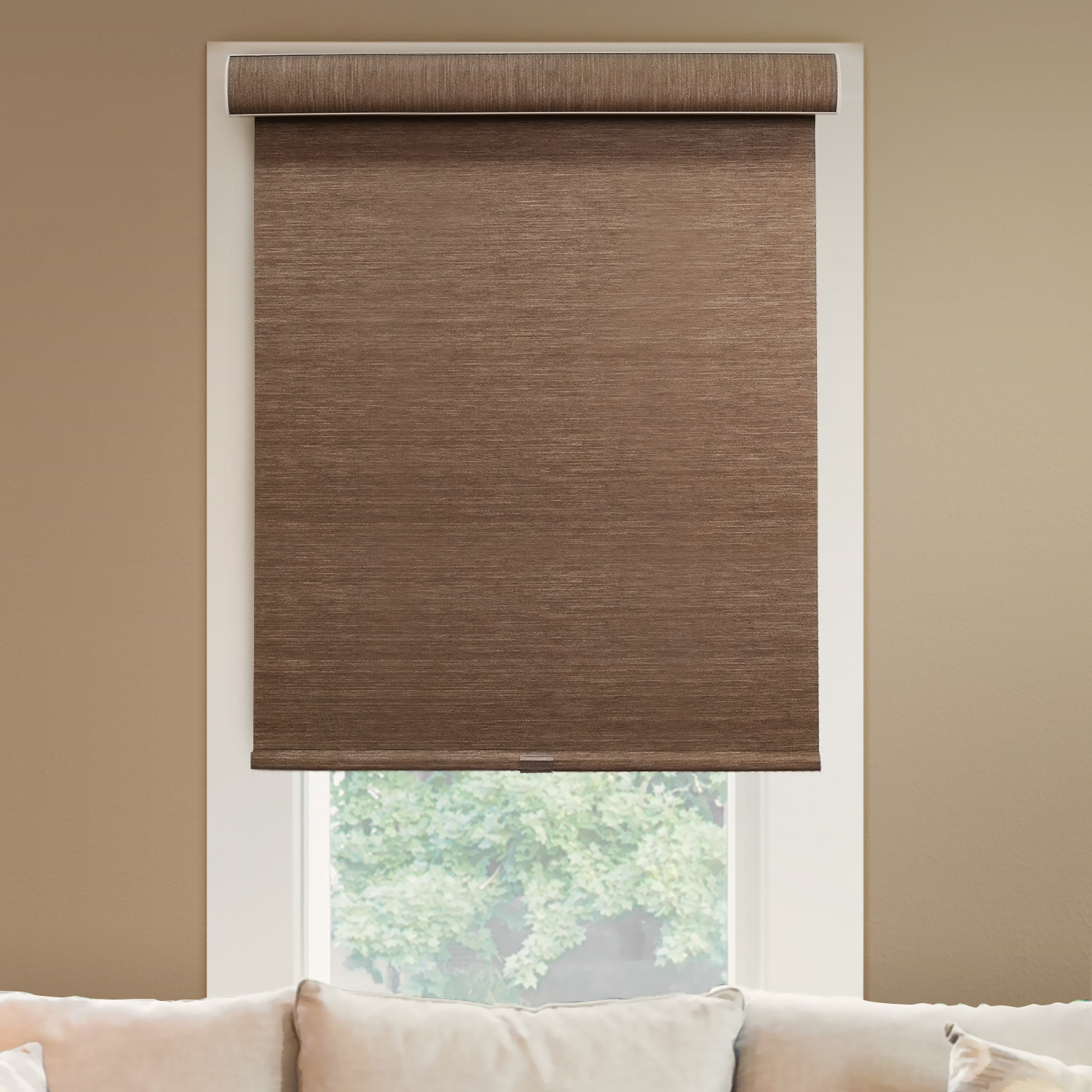 "Chicology Deluxe Free-Stop Cordless Roller Shades, No Tug Privacy Window Blind, Felton Truffle (Privacy & Natural Woven) - 20""W X 72""H"