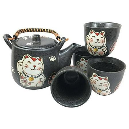 Japanese Maneki Neko Cat Black Tea Set Pot and Cups Serves 4 Lucky Charm Ceramic Serve Kitchen Set