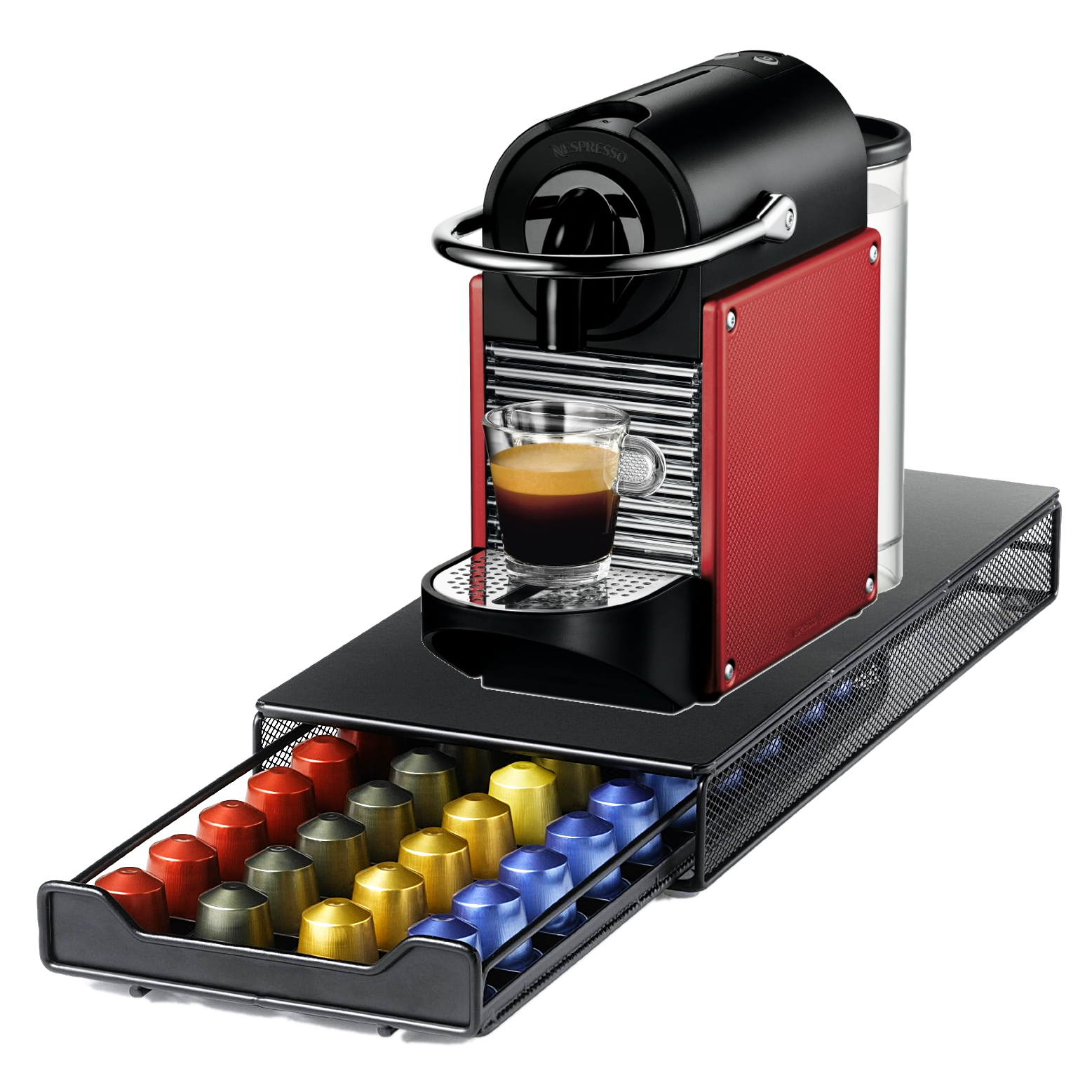 Click here to buy Nespresso Pixie D60 Dark Red Espresso Machine with Bonus 40 Capsule Storage Drawer by Nespresso.