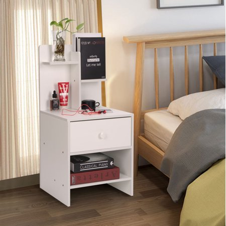 HLC Wood Bedroom Side Table Modern Nightstand with One Drawer and Storage Shelf, White And 1 Drawer Nightstand