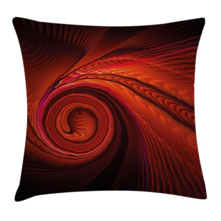 Spires Decor Throw Pillow Cushion Cover, Spooky Spiral Form in Darkness with Digital Effects Perplexed Dreamy Place Image, Decorative Square Accent Pillow Case, 16 X 16 Inches, Red, by - Versa Form Pillow Covers