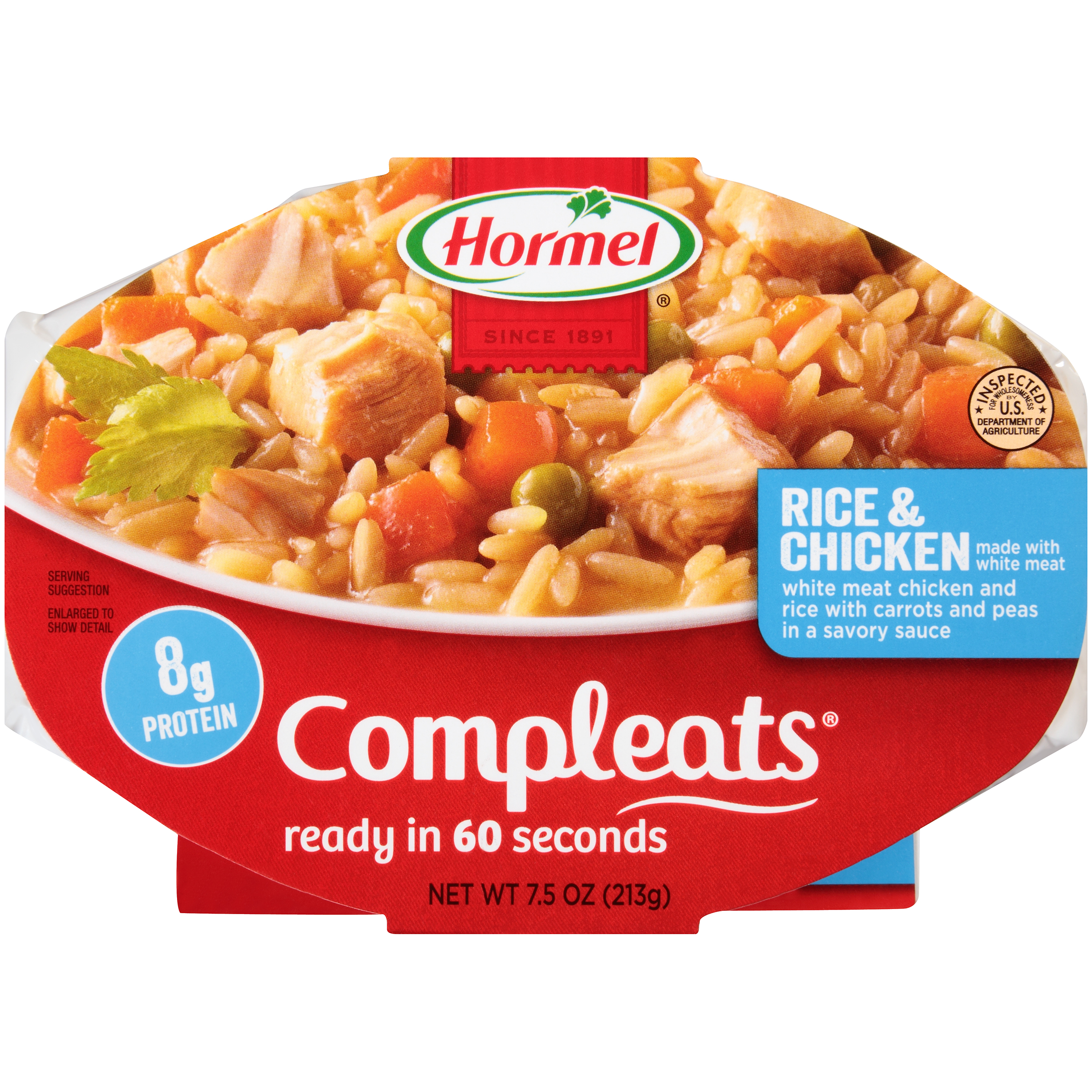 Hormel Compleats, Microwave Meal, Rice & Chicken, 7.5 oz