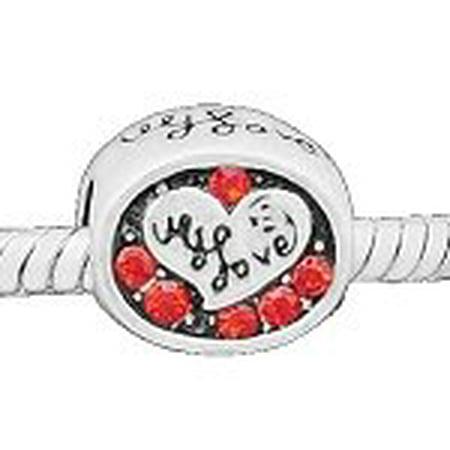 Buckets of Beads Heart Shape I Love You Rhinestone Charm Bead, Red