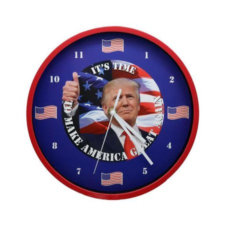 Trump Talking Clock Battery Operated Red Color Frame White Box (Talking Cat Clock)