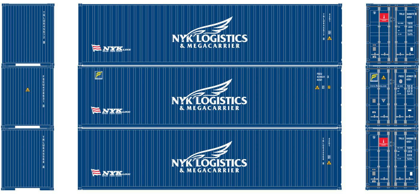 Athearn HO Scale 40ft Corrugated Shipping Container NYK Logistics 3-Pack