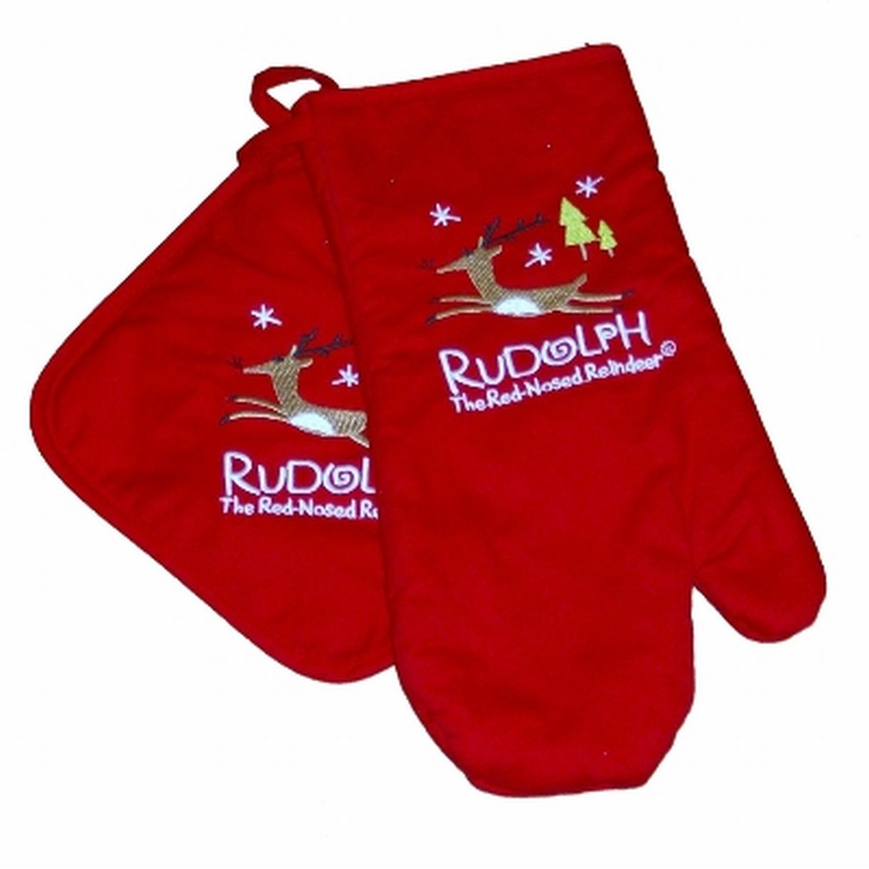 Dan Dee Rudolph Red Nosed Reindeer Potholder Set Kitchen Oven Mitt U0026 Pot  Holder
