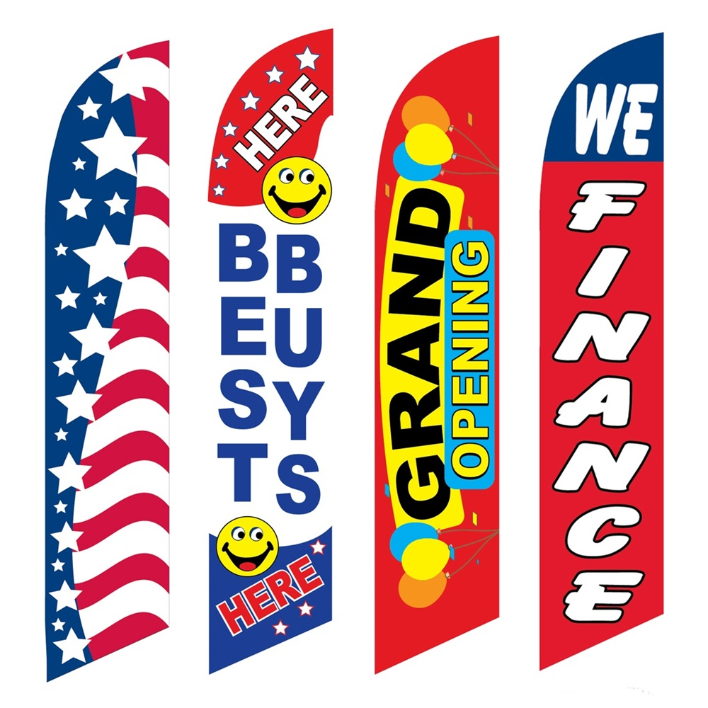 4 Advertising Swooper Flags Patriotic Best Buys Here Grand Opening We Finance