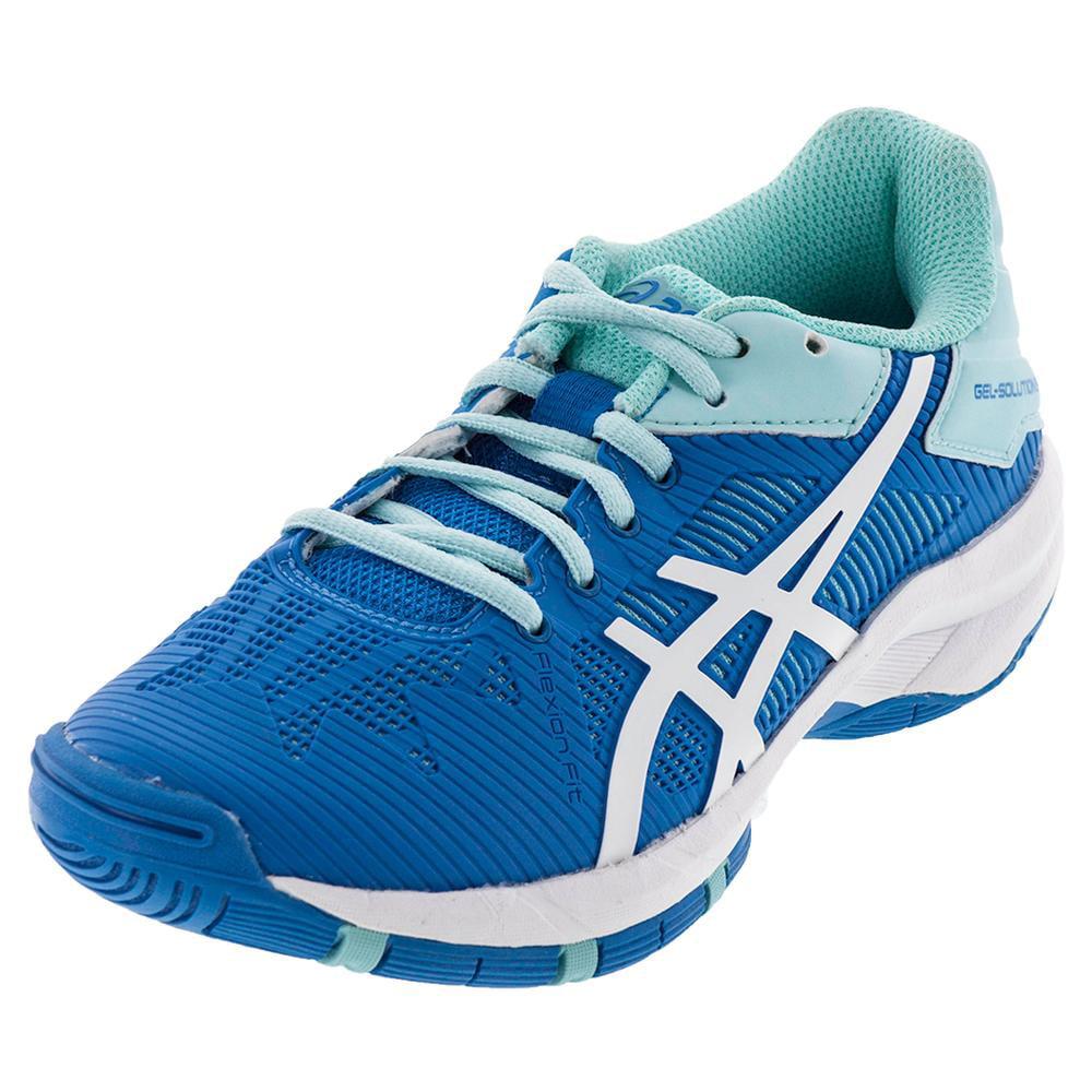Asics Juniors` Gel-Solution Speed 3 Tennis Shoes Aqua Spl...