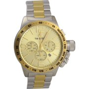 CB54 Men's XXL Chronograph Stainless Canteen Two-Tone Gold Dial Watch