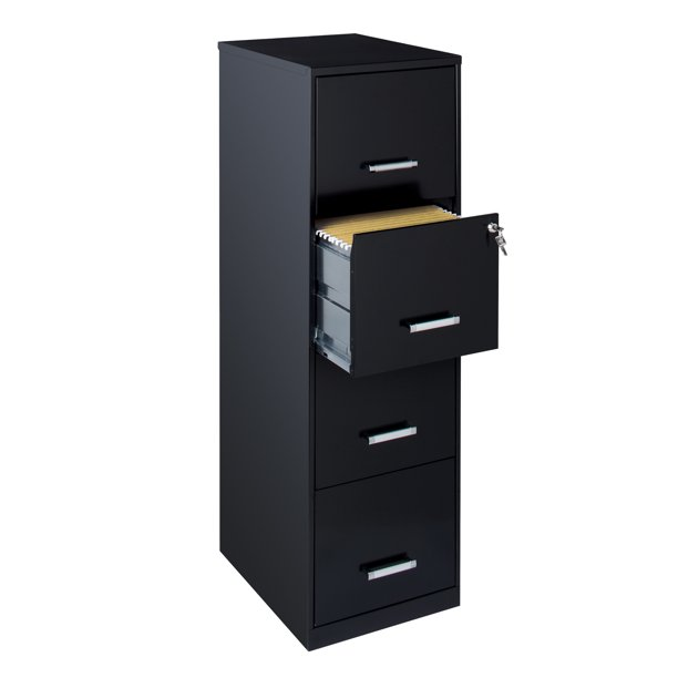 "Space Solutions 18"" Deep 4 Drawer Metal File Cabinet, Black"