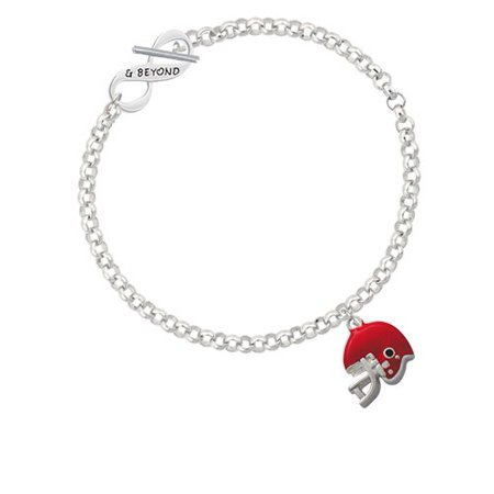 Small Red Football Helmet & Beyond Infinity Toggle Chain Bracelet - Small Football Helmets