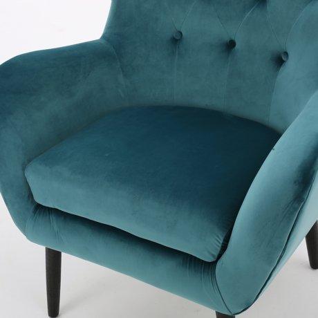 Simone Dark Teal New Velvet Arm Accent Chair