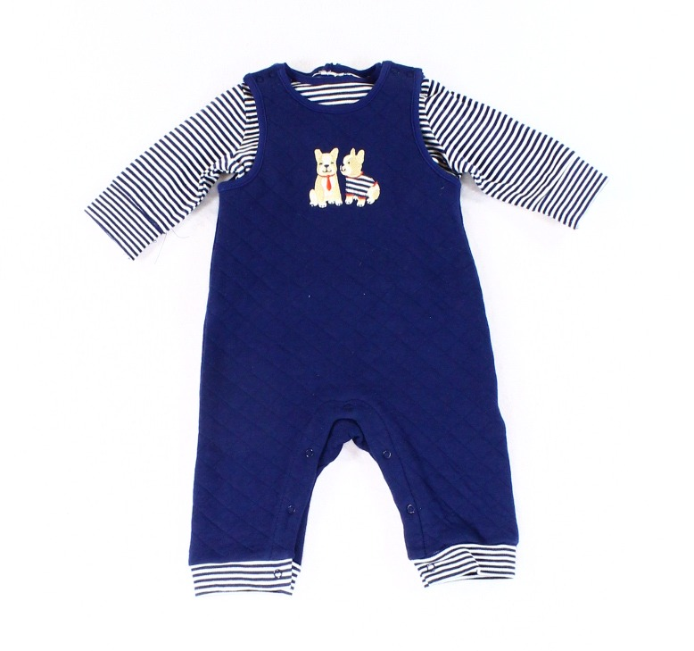 Little Me NEW Blue Navy Baby boys Size 3 Months Striped One Piece Top Set $36