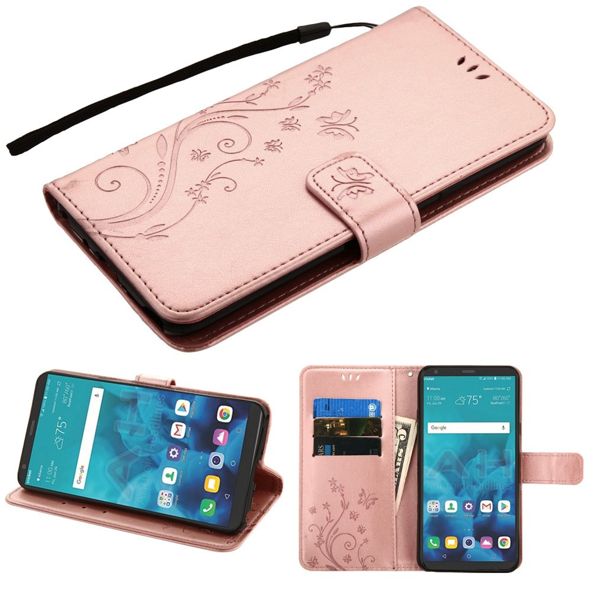 LG Stylo 4 Case, by Insten MyJacket Butterfly Folio Flip Leather Case Cover Lanyard w/Stand/[Card Slot] Wallet Flap Pouch For LG Stylo 4