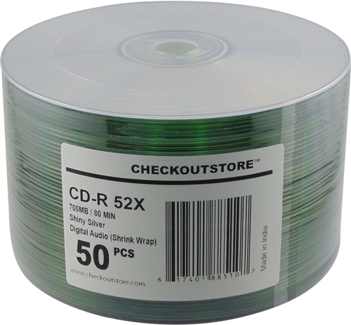 100 CheckOutStore 52x Digital Audio Music CD-R 80min 700MB Shiny Silver