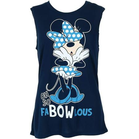 Minnie Mouse Blue Fab-Bow-Lous Women's Fashion Tank Top