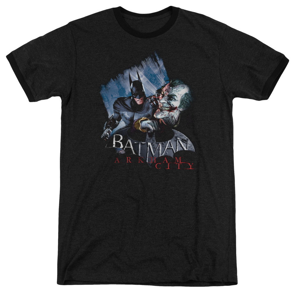 Arkham City Joke'S On You! Mens Adult Heather Ringer Shirt