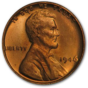 1946 Lincoln Cent BU (Red) Us 10 Cent Silver Coin