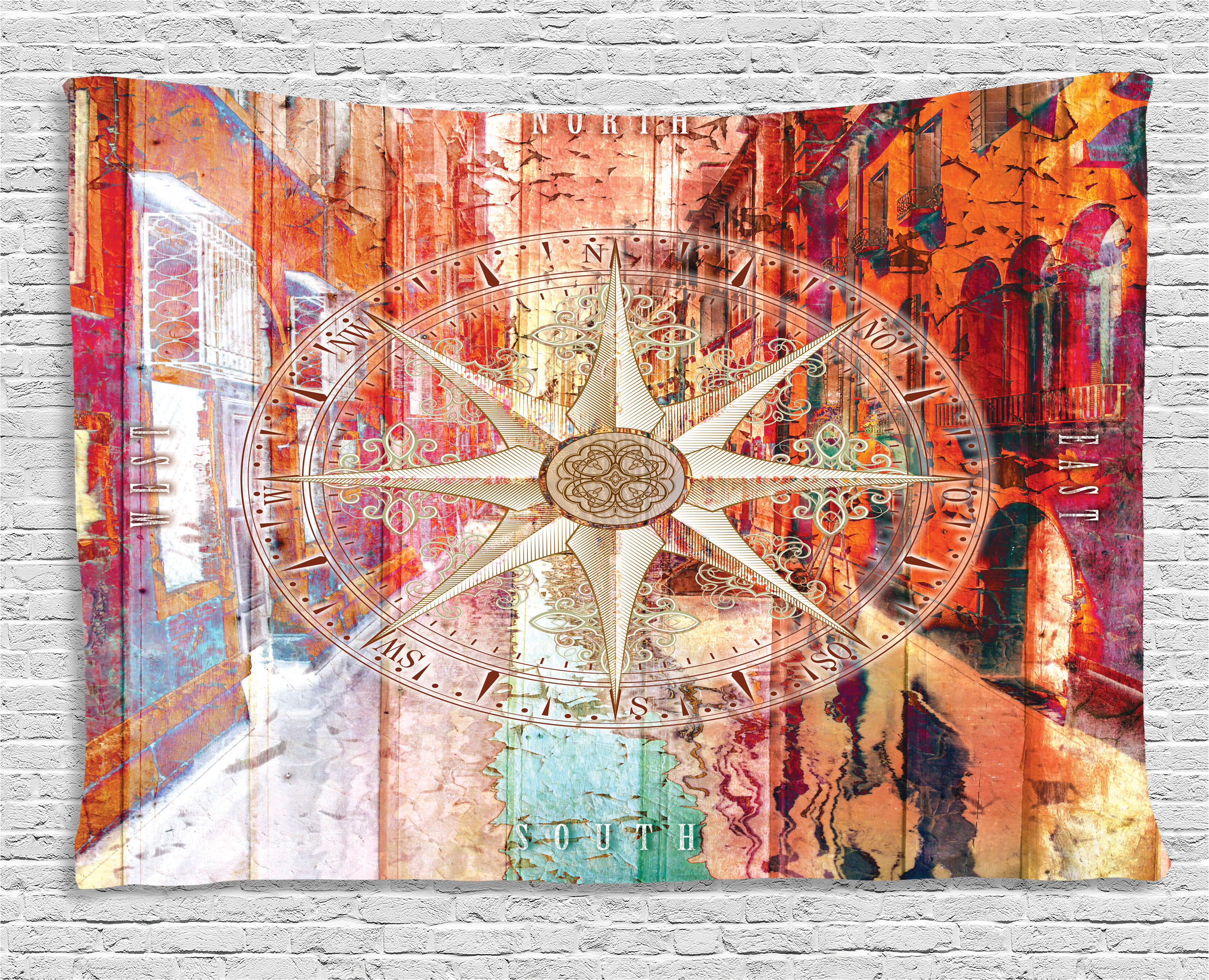 Marine Life Tapestry, European Venice City Blurry Abstract Backdrop With  Navy Sea Compass Art Print
