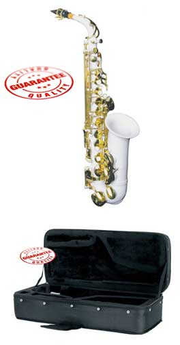 Hawk Colored Student White Alto Saxophone with Case, Mouthpiece and Reed by Hawk